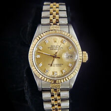 Rolex Datejust Lady 18K Gold & Steel Watch Champagne FACTORY Diamond Dial 69173