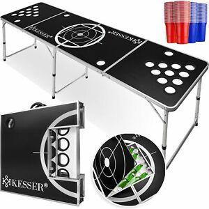 KESSER® Beer Pong Tisch Set Inkl.Eisfach +100 Becher 6 Bälle Regelwerk Table