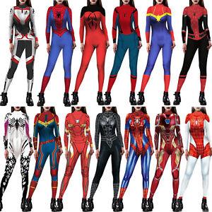 Women Marvel Superhero Spiderman Jumpsuit Catsuit Cosplay Fancy Costume Romper