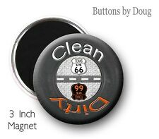 Route 66 Dish Washer Clean Dirty Magnet with Tire and Route 66 Graphics