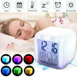 Kids Alarm Clock Wake Up Easy Setting Digital Clock 7 Colors Changing LED Light