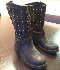 Italian Distressed Sculls  Black Dark Gray Biker  Leather boots Sz 38 Danielle