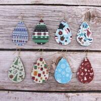 Christmas Gift Christmas Adornments Christmas Teardrop Leather Drop Earrings New