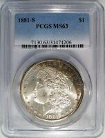 1881 S Silver Morgan Dollar PCGS MS 63 Rainbow Crescent Toned Toning Toner Coin