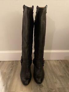 Black Size 8 Medium Vicki Tall Frye Leather Boots Heels