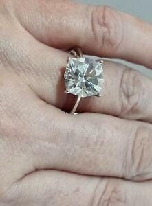 Diamonique Octagon Multi Reflective Solitaire Sterling Silver 925 Ring Size V.