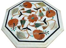 Coffee Table Carnelian Stone Inlaid Marble Side Table with Flower Design