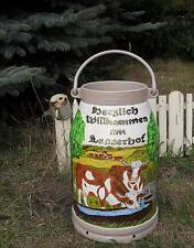 Milchkanne,20-L.handbemalt-2 Motive-Kühe-Tränke-Weide+Wunschmotiv-beige-Bestel.