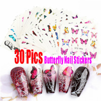30pcs Butterfly Nail Stickers Water Transfer Decals Nail Art Decor Tips Art