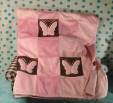 AMY COE Baby Girl Butterfly Square Blanket Brown pink lovey patchwork Target