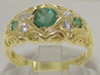 Solid 9ct Yellow Gold Natural Emerald & Diamond Vintage Style Band Ring