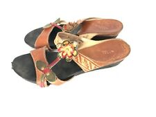 Spring Step Tamara Womens Sandals Size 11 42 Brown Floral Wedge Leather Slip On