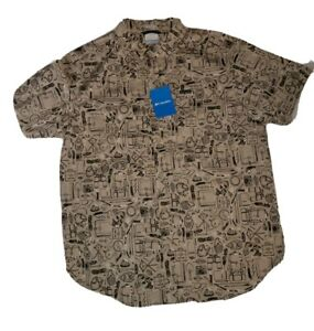 NWT Columbia Rapid Rivers Short Sleeve Button Front Shirt w/Camping Pattern sz L