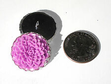 "Orchid Dahlia Resin Button 1"" handcrafted shank silver plated crown edge tray"
