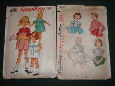 2 Vtg Lot 60s Girls Sew Patterns Blouse Petticoat Simplicity 6381 1287 Sz3 #ld