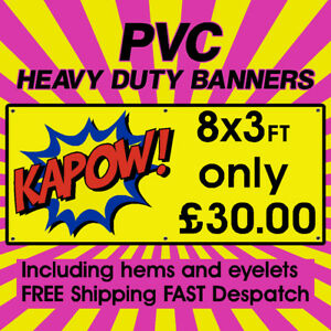 PVC Banners Outdoor Vinyl Banner Advertising Sign Display Printed Banner 8x3ft