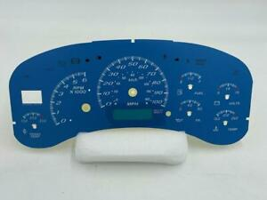 1999 2000 2001 2002 GM Truck Cluster Gauge Face Overlay Blue w/ Blue Scale