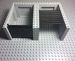 Lego 2 City Light Bluish Gray Car Garage With Black Roller And Handle Assembly