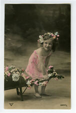 c 1908 Cute Little BAREFOOT GIRL Bare Foot kids child children photo postcard