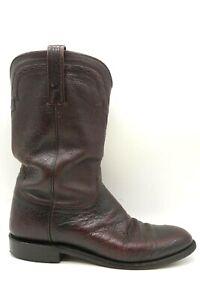 Lucchese 2000 Burgundy Smooth Ostrich Cowboy Western Roper Boots Men's 8.5 D
