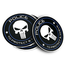"Punisher Skull Police Vinyl Decal Sticker Blue Line (4 Stickers / 4"" inches)"