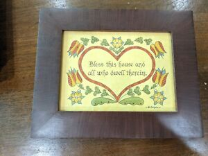 Fraktur Bless this House Handmade drawn Art Pennsylvania Guild of Craftsman