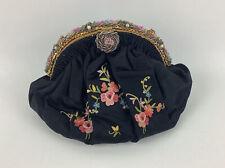 Vintage 1930's Sagil French Beaded Black Satin Evening Bag Handbag