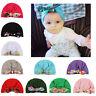 CO_ KF_ Flower Print Bowknot Turban Cap Toddler Baby Girl Elastic Beanie Hat Cle