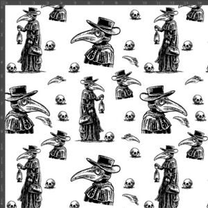 Plague Doctor Gothic With Skulls 100% Quality Cotton Poplin Fabric