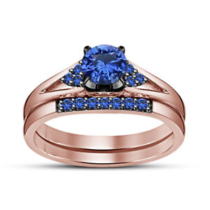 Women's 14K Rose Gold Over 1.25 Ct Blue Sapphire Engagement Bridal Ring Band Set