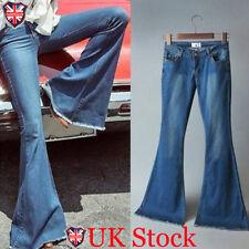 Womens Skinny Flare Denim Jeans Retro Bell Bottom Stretch Pants Trousers UK 8-18