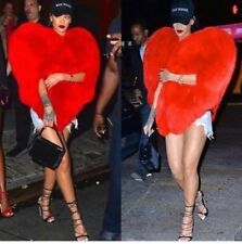 25000 USD INCREDIBLE  RIHANNA SAINT LAURENT HEART FOX FUR COAT CAPE 36 FR 40 IT