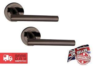 Internal T-Bar Black Nickel Lever On Rose Door Handle set NEW!