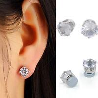 6mm Clear Crystal Stud Earrings CLIP ON Magnetic Womens No Piercing Earring Pair