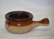 Old Vintage Stoneware Pottery Individual Soup Bean Pot Handled Triple Tone Brown