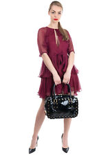 RRP €775 VALENTINO GARAVANI Leather Tote Bag Patent Panel Studded Made in Italy