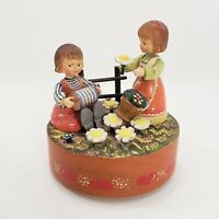 "Anri Italy Girls in Garden Music Box 5"" Wood It's Impossible Hand Crafted Vtg"