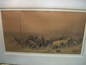 Arthur Johann A Severin Nikutowski (1830-1888) Drawing? of Horses Pulling Boats