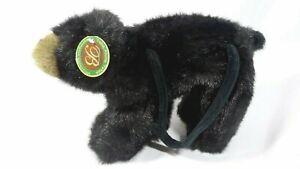 2004 Bearington Bear Collection Take Along Tote Black Plush Children Purse