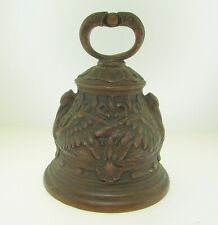 """Antique European Bronze 4 1/4"""" Bell With Spread Wings Swans - Part Of Collection"""