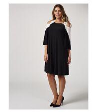 Cold Shoulder Trapeze Dress Raglan Sleeve by Nina Leonard Black XL