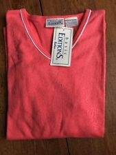 NWT Basic Editions Ladies 3/4 Sleeve Orange Piped V Neck T Shirt