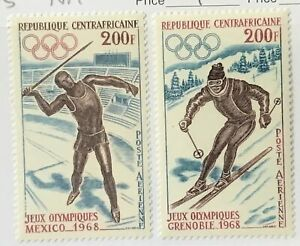Central African Republic #C54-C55 MNH CV$9.00 Grenoble/Mexico 1968 Javelin/Skier