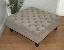 Square Design Chesterfield  Deep Button Footstool in Crush Taupe Colour Fabric