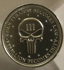 2016 1/4 oz .999 Silver Punisher coin end tyranny second amendment 3 percenter