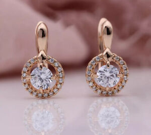 18K ROSE GOLD FILLED ROUND EARRINGS MADE WITH SWAROVSKI CRYSTALS GIFT GF45