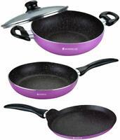 3 PCs Wonderchef Non Stick Induction & Gas Cookware Set Wok Fry Pan Skillet