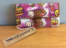 NWT WallFlower Funny Emoji Trifold Wallet Pizza Burgers Ice Cream Cone