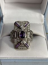 Amethyst dress ring Size S 925 sterling silver Art Deco