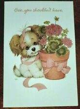 Ruth J Morehead Gibson Greetings Thank you card, puppy and flowers, glitter